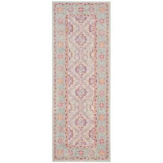 Safavieh Windsor Oriental Blue/ Pink Silky Runner Rug (3' x 8')