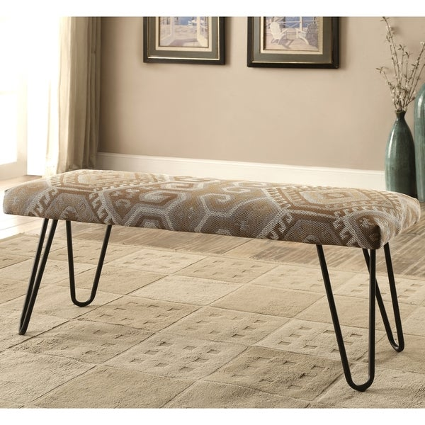 Mid Century Modern Southwestern Print Living Room Accent Bench With Hairpin  Legs