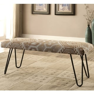 midcentury modern print living room accent bench with hairpin legs