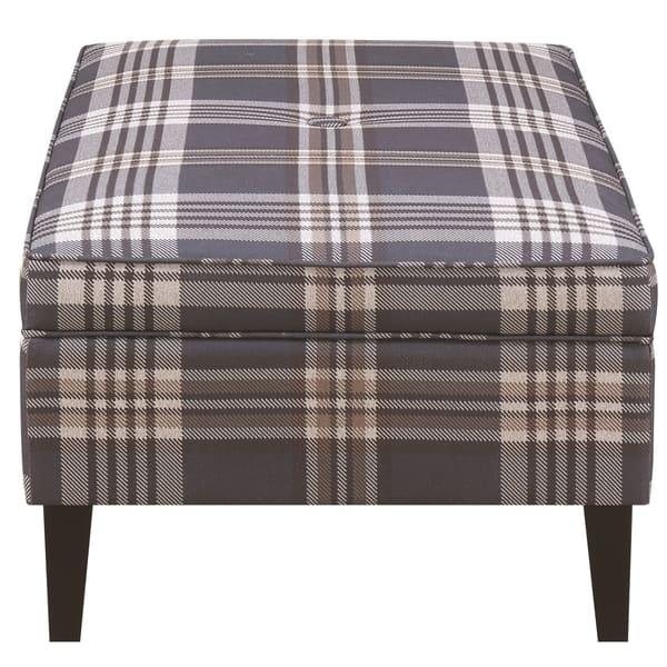Surprising Shop Living Room Fashionable Plaid Fabric Storage Ottoman Machost Co Dining Chair Design Ideas Machostcouk
