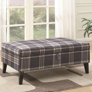 Living Room Fashionable Plaid Fabric Storage Ottoman Bench