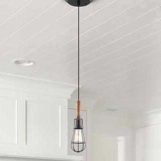 VONN Lighting VVP24311ABZ 5-inch Arden Industrial Pendant with Wood Element and LED Filament Bulb in Aged Bronze