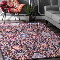 nuLOOM Vintage Fancy Abstract Floral Multi Rug (7'6 x 9'6) - 8' x 10'