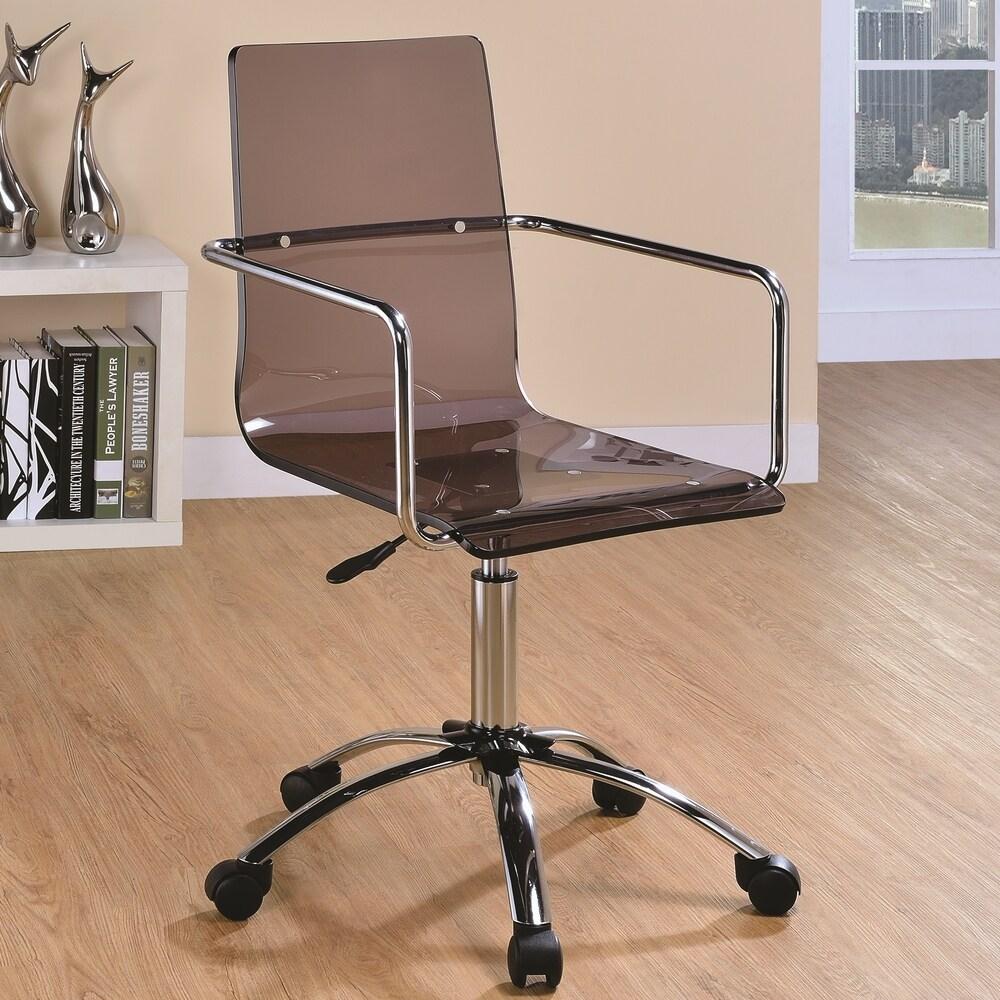A Line Furniture Modern Design Smoke Acrylic Adjustable Office Chair with Chrome Base (Smoke)