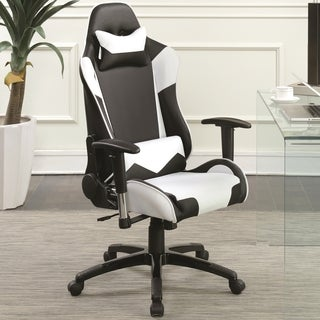 Reclining Racer Design Multifunction Black/ White Ergonomic Gaming Executive Office Chair