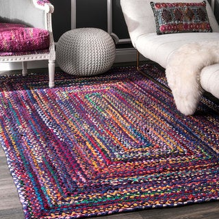 nuloom casual handmade braided cotton blue multi rug 4u0027 x 6u0027