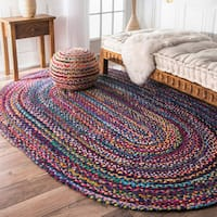 The Curated Nomad Grove Handmade Braided Blue Rug (4' x 6' Oval)