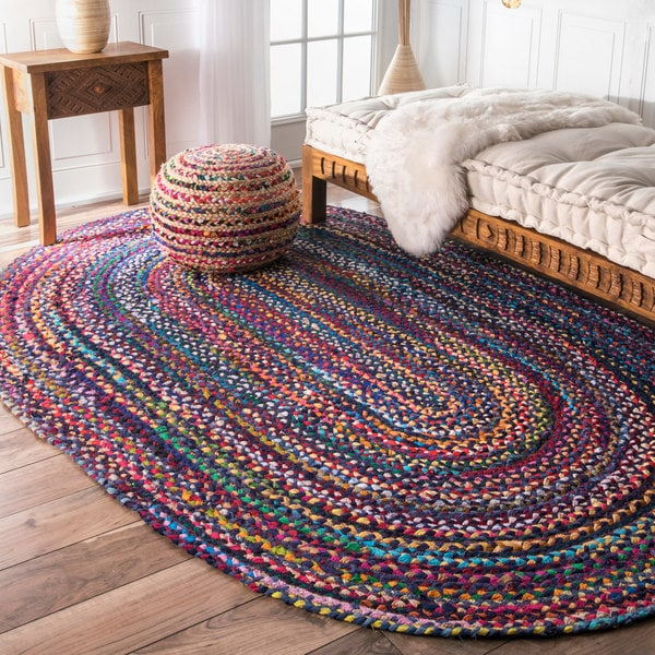 The Curated Nomad Grove Handmade Braided Blue Rug - 4' x 6' Oval