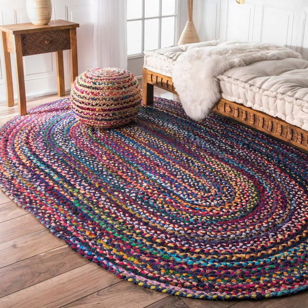 NuLOOM Casual Handmade Braided Cotton Blue Multi Rug (7' X