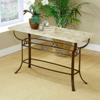 Hillsdale Furniture Brookside Fossil Brown Natural Stone/ Metal Sofa Table