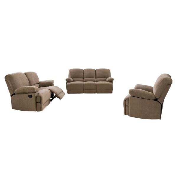 CorLiving Lea 3pc Chenille Fabric Reclining Sofa Set