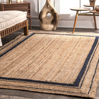 nuLOOM Braided Natural Fiber Jute Navy Border Rug (5' x 8')