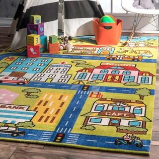 nuLOOM Contemporary Playtime Neighborhood Bus Trip Kids Rug (8' x10')