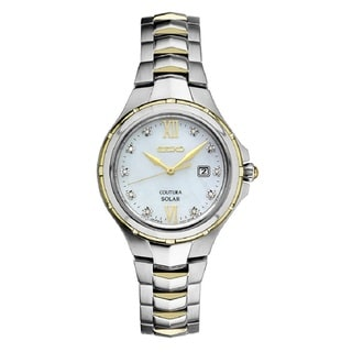 Seiko SUT308 Ladies Coutura Solar Powered Stainless Steel and Diamond Watch