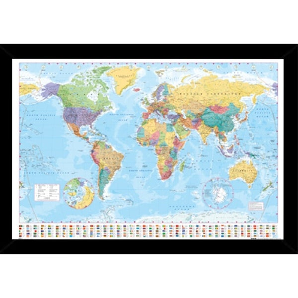 World Map with Choice of Frame (24x36). Opens flyout.
