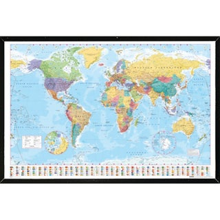 World Map With Choice of Frame (24x36) (More options available)
