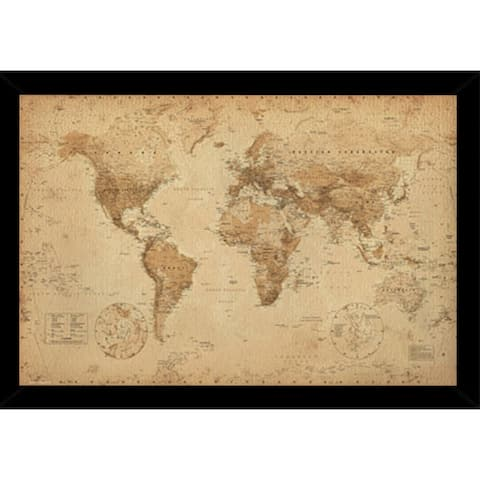World Map Antique With Choice of Frame (24x36)