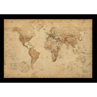 Link to World Map Antique with Choice of Frame (24x36) Similar Items in Canvas Art