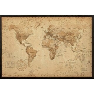 World Map Antique With Choice of Frame (24x36) (More options available)