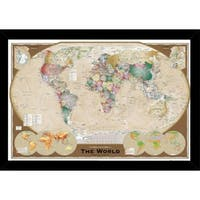 World Map Tripel With Choice of Frame (24x36)