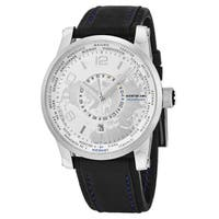 Mont Blanc Men's 108955 'Timewalker' Silver Dial Black Leather Strap World Time Hemispheres Swiss Automatic Watch
