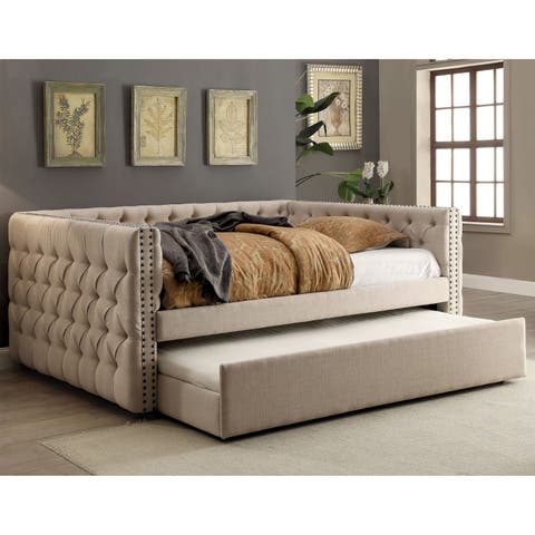 Bailey Contemporary Ivory Tufted Nailhead 2-Piece Daybed Set by FOA