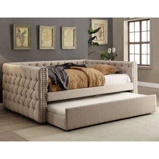 Furniture of America Bailey Contemporary 2-piece Tufted Nailhead Ivory Linen-like Daybed and Trundle Set