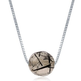 La Preciosa Sterling Silver 8mm Faceted Bead Natural Quartz Gemstone Black Rutilated 18 Inches Necklace (More options available)