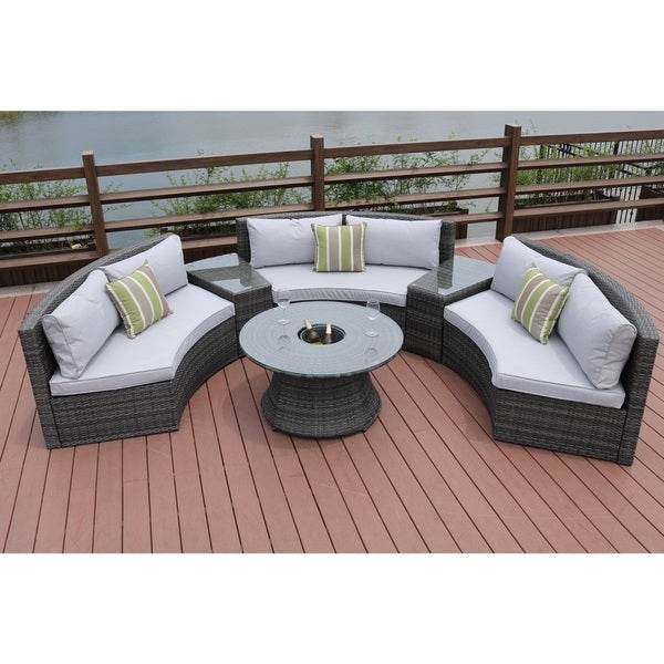 Half Moon 6 Piece Outdoor Curved Sectional Sofa With Side Table Set By Direct Wicker