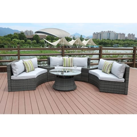 New Fashion Half Moon 6-piece Outdoor Curved Sectional Sofa with Side Table Set by Direct Wicker