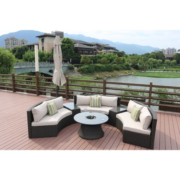 Shop New Fashion Half Moon 6 Piece Outdoor Curved Sectional Sofa With Side Table Set By Direct Wicker Overstock 16899729 Grey