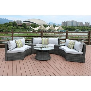 Half Moon 6-piece Outdoor Curved Sectional Sofa with Side Table Set by Direct Wicker