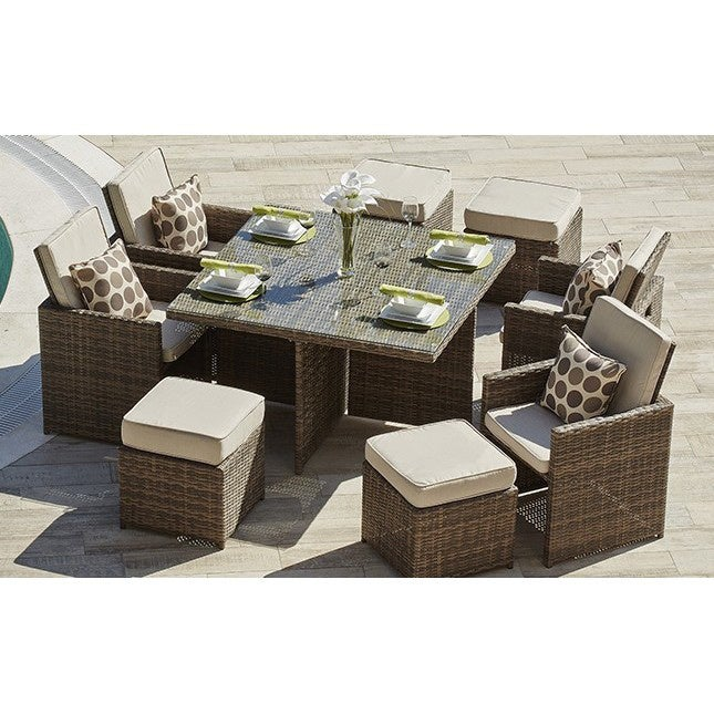 Cubo Outdoor Garden Wicker 9 Piece Patio Dining Table Set On Sale Overstock 16899742 Brown