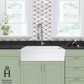 Highpoint Collection 36 Inch Single Bowl Fireclay Farmhouse Kitchen Sink