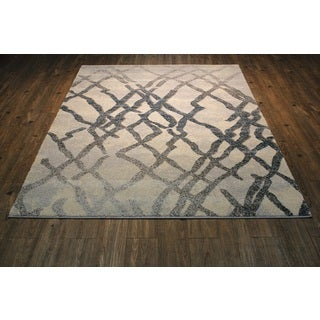 Silver with Teal & Ivory Shag Area Rug (7'10 X 10'6)