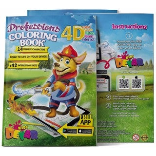 4D Augmented reality Come to Life Coloring books Professions
