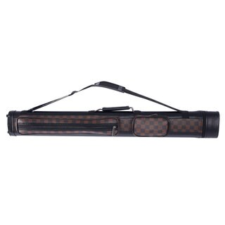1/2 4-Hole Leather Billiard Pool Cue Case 32.5 inch (Black & Dark Brown)