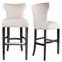 Bella 30 inch Contemporary Off White Beige Nailhead Barstool