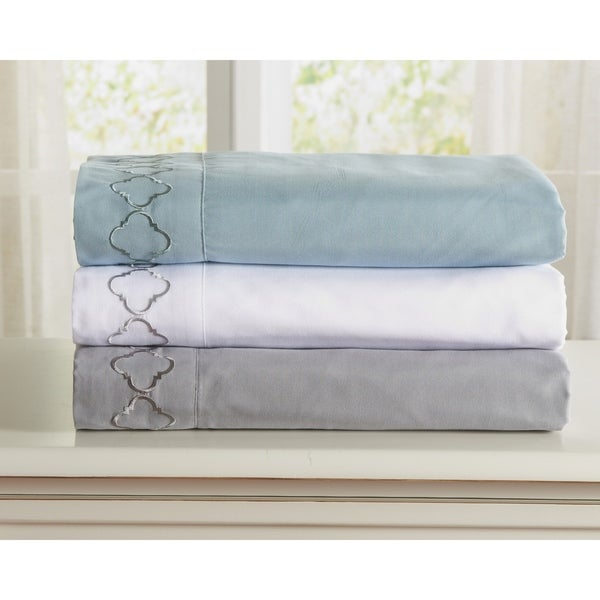 Wexford Collection Double Brushed Geometric Embroidered Sheet Set