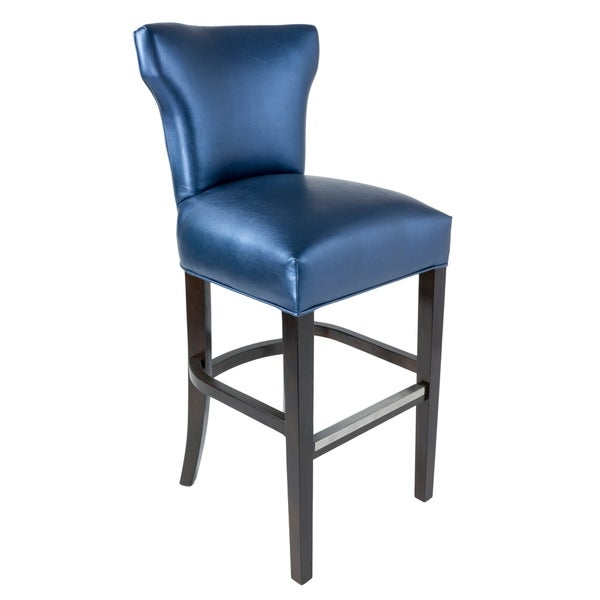 Bella 30 Inch Contemporary Blue Faux Leather Barstool Blue Leather Bar Stools R61