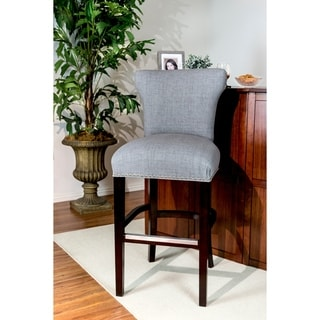 "Bella 30"" Jet Metal Grey Upholstered Espresso Finish Dining Barstool"