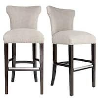 Bella 30 inch Contemporary Beige Taupe Nailhead Barstool