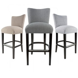 "Savannah 30"" Jet Metal Fabric Upholstered Espresso Finish Barstool"