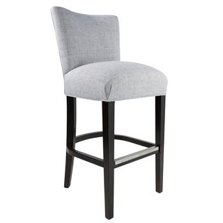 "Savannah 30"" Jet Silver Fabric Upholstered Espresso Finish Barstool"