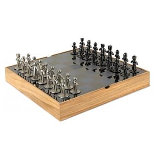 Umbra Buddy Cast Zinc and Ashwood/Metal Box Chess Set 1005304-390