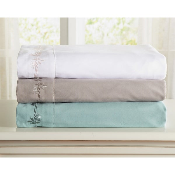 Great Bay Home Double Brushed Microfiber Floral Embroidered Sheet Set