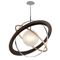 Troy Lighting Apogee Bronze with Gold Leaf and Polished Stainless 40-inch LED Pendant, Frosted Clear Glass