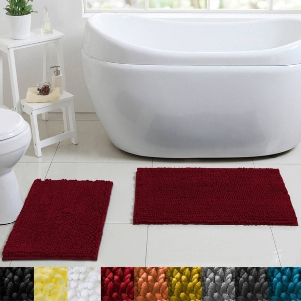 sweet home collection 2 piece butter chenille bath rug set - Bathroom Rug Sets