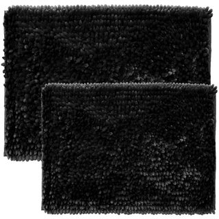 Sweet Home Collection 2 Piece Butter Chenille Bath Rug Set (Option: Black)