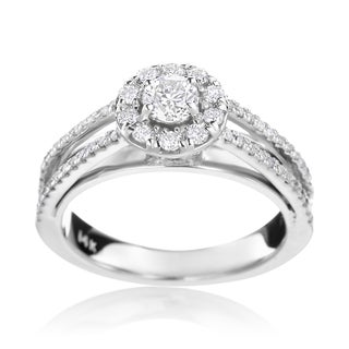 SummerRose 14k White Gold 3/4ct TDW Diamond Halo Engagement Ring